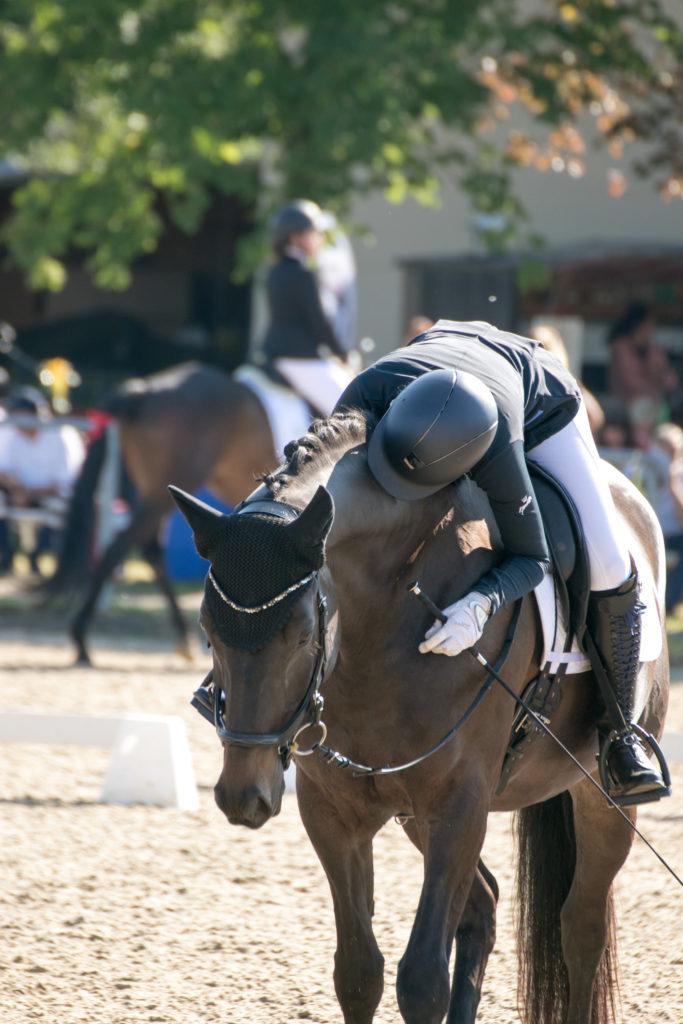 Mädchen auf Pferd, küsst Hals vor Freude